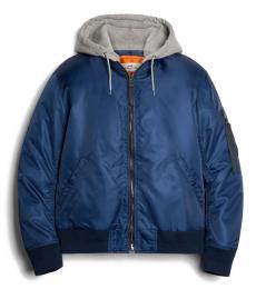 Navy Nylon Hooded Jacket