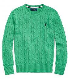 Boys Palm Green Cable-Knit Sweater