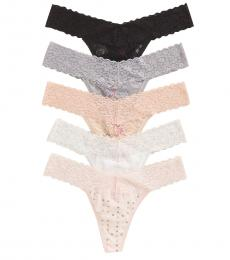 Betsey Johnson White 5-Pack Floral Lace Thong