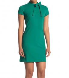 Dark Green Petite Bow Tie Scuba Crepe Dress