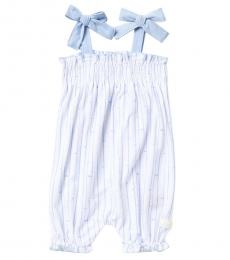 Baby Girls Blue Smocked Coverall