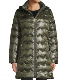 Kate Spade Rich Olive Scallop-Quilted Down Coat