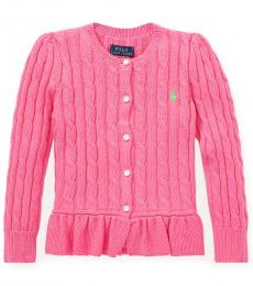 Ralph Lauren Little Girls Baja Pink Cable Peplum Cardigan