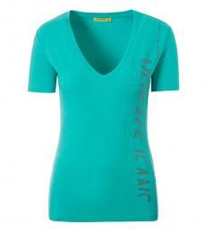 Versace Jeans Mint Deep V-Neck Logo Top