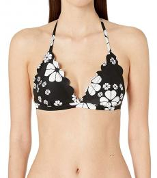 Kate Spade Black Scalloped Triangle Bikini Top