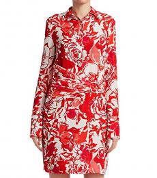 Roberto Cavalli Hydrangea Rose Ruched Shirtdress