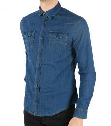Armani Jeans Dark Blue Denim Shirt