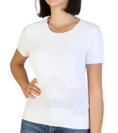 Armani Jeans White Crew Neck Solid Top