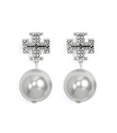 Tory Burch Silver Crystal Pearl Earrings