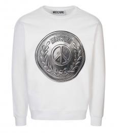 Moschino White Graphic Logo Sweatshirt