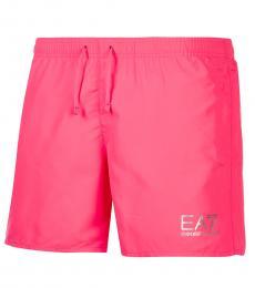 Emporio Armani Pink Logo Swim Trunk
