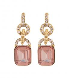 Rose Pave & Stone Double Drop Earrings