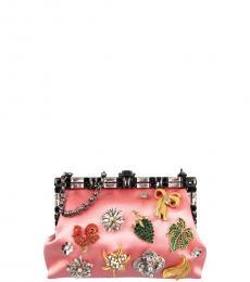 Dolce & Gabbana Pink Vanda Brooches Clutch