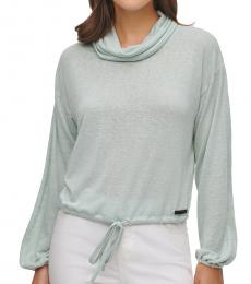 Sea Teal Knit Jersey Cowl Neck Top