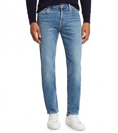 7 For All Mankind Light Blue Slim-Fit Straight-Leg Jeans