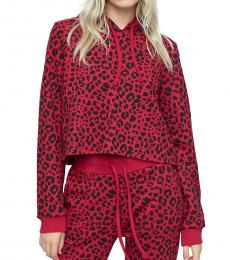 True Religion Ruby Red Leopard Crop Hoodie