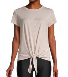 DKNY Light Pink Tie-Front Logo Top