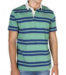 Green Logo Striped Polo