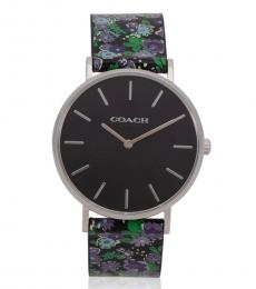 Coach Black Perry Posey Cluster Print Watch