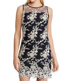 Black Metallic Embroidered Party Dress