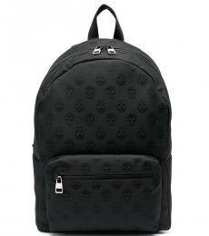 Alexander McQueen Black Skull Print Large Backpack