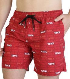 Karl Lagerfeld Red Allover Logo Swimwear