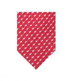 Salvatore Ferragamo Red Mouse Print Tie
