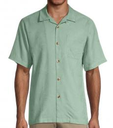 Olive Tropic Short Sleeve Silk Shirt