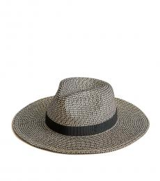 J.Crew Black Ivory Marled Wide-Brim Packable Hat