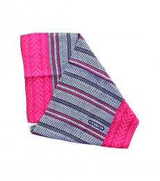 Coach Blue-Pink Heritage Stripe Scarf