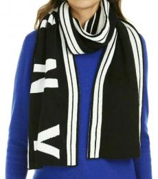 DKNY Black-White Logo Stadium Reversible Scarf
