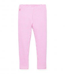 Ralph Lauren Little Girls Pink Gingham Stretch Leggings