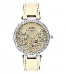 Crystal Chalk Floral Dial Leather Watch