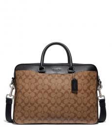 Coach Tan Beckett Slim Large Briefcase Bag