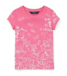 Ralph Lauren Little Girls Pink Graphic T-Shirt