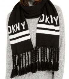 DKNY Black-White Logo Stadium Scarf
