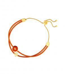 Tory Burch Orange Enamel Logo-Slider Bracelet