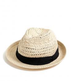 J.Crew Old Lace Black Fedora-Ribbon Hat
