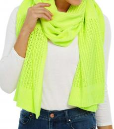 DKNY Neon Yellow Logo Open-knit Blocked Scarf