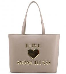 Love Moschino Grey Padded Heart Large Tote