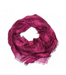 Coach Burgundy Printed Plaid Oversize Scarf