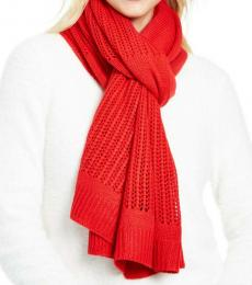 DKNY Red Logo Open-knit Blocked Scarf