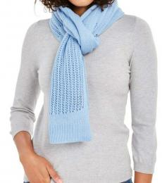 DKNY Light Blue Logo Open-knit Blocked Scarf
