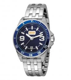 Just Cavalli Silver Blue Dial Watch