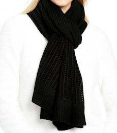 DKNY Black Logo Open-knit Blocked Scarf