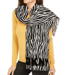 DKNY Black-White Logo Flocked Zebra Scarf