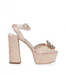 Beige Floral Lace Platform Heels