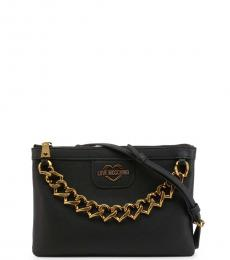 Love Moschino Black Chain Zip Small Crossbody