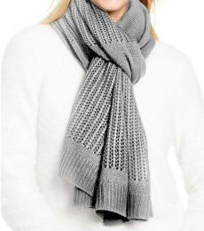 DKNY Heather Grey Logo Open-knit Blocked Scarf