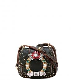 Black Embellished Mini Crossbody
